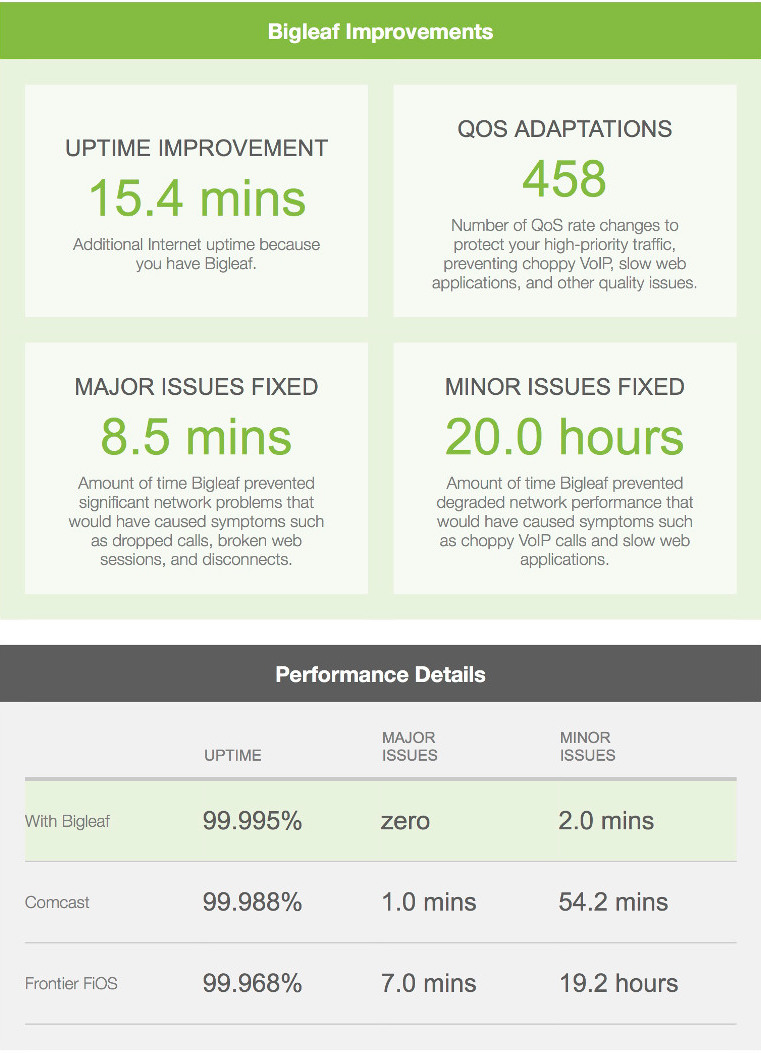 Bigleaf Performance Report